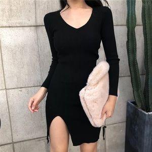 ✨NWT✨ Black Slit Ribbed Dress